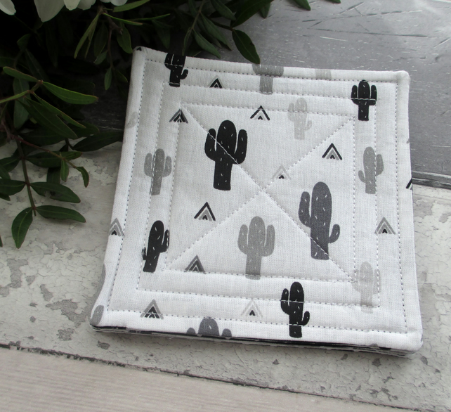 Quilted Fabric Coasters, Cactus Fabric Coasters