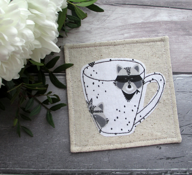 Fabric Coaster, Raccoon Coaster Gift