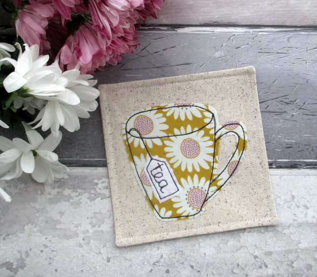 Fabric Coaster, Gift For A Tea Lover