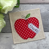Red Apple Coaster, Thank You Gift, End Of Term