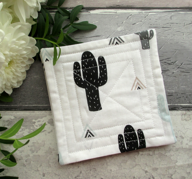 SALE! Cactus Coasters, Quilted Coaster Set