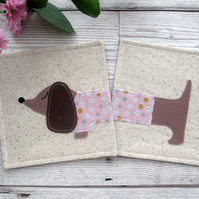 Dachshund Coasters, Sausage Dog Fabric Coasters