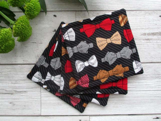 SALE!!! Quilted Coaster Set, Fabric Bow Tie Coasters