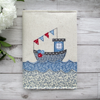 A5 Fishing Boat Fabric Notebook
