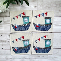 Cornish Fishing Boat Coaster Set