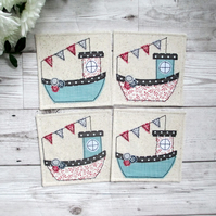 Fishing Boat Coaster Set
