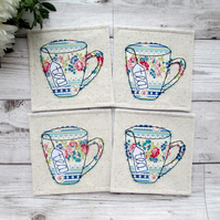 Tea Coaster Set, Gift For A Tea Lover