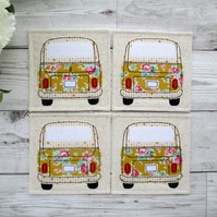 Set Of 4 Camper Van Coasters