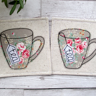 Set Of 2 Coasters, Tea For Two