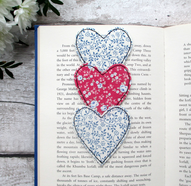 Fabric Heart Trio Bookmark