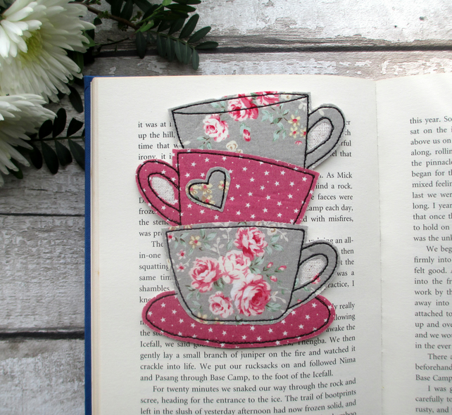 Tea Cup Stack Bookmark, Reading Gift