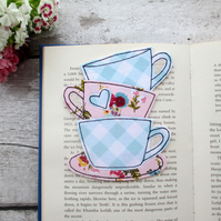 Tea cup stack bookmark, book lover gift