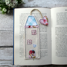 Tall house bookmark, bookworm gift