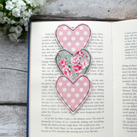 Fabric bookmark, gift for a book lover