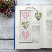 Fabric heart bookmark, book lover gift
