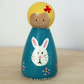 Sweet Wooden Peg Doll Easter Bunny theme. Rabbit, girl, photo prop, storytelling