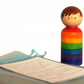 Child's worry doll, rainbow design fret me not. BOY peg doll.