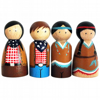 Cowboys and Native Americans, set of 4 peg dolls. Peg people, wooden dolls.