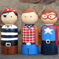 Pirate, Cowboy and Super Boy - Wooden Peg Doll Set