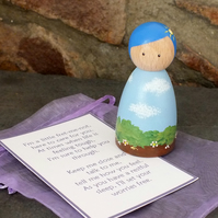 Mother Earth, Worry Doll, Fret Me Not, Mother Nature Peg Doll, Wooden doll,