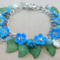 Forget me not bracelet, butterfly, bee, dragonfly, ladybird, rabbit, bird, fox