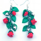 Red rose earrings with hearts