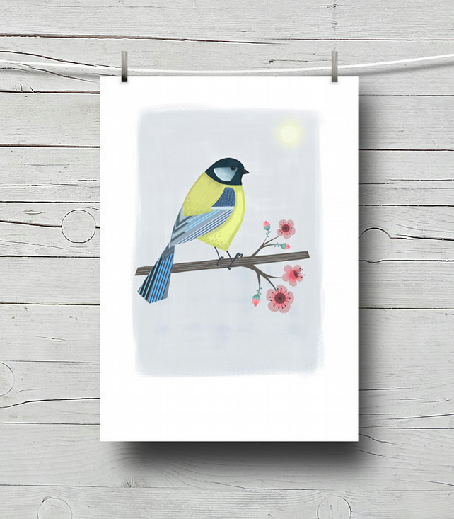 Blue-tit and Cherry Blossom Print