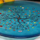 Tree of Life fused glass shallow bowl