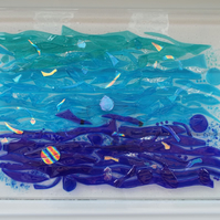 Washing of the Water fused glass wall art panel