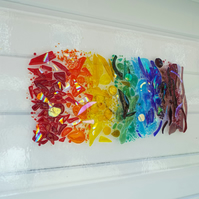 Just Like A Forming Rainbow fused glass wall art panel