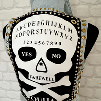 Upcycled Ouija board punk jacket size UK size 8