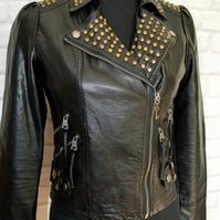 Upcycled faux leather punk biker jacket UK size 8