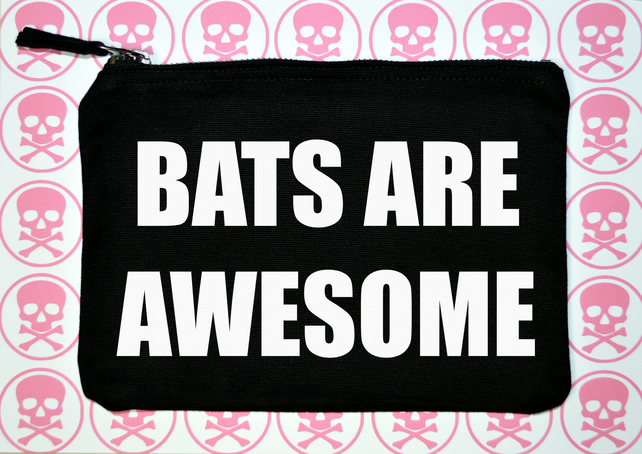 Bats are awesome makeup bag