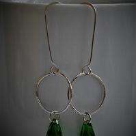 Silver hoop and green crystal drop earrings