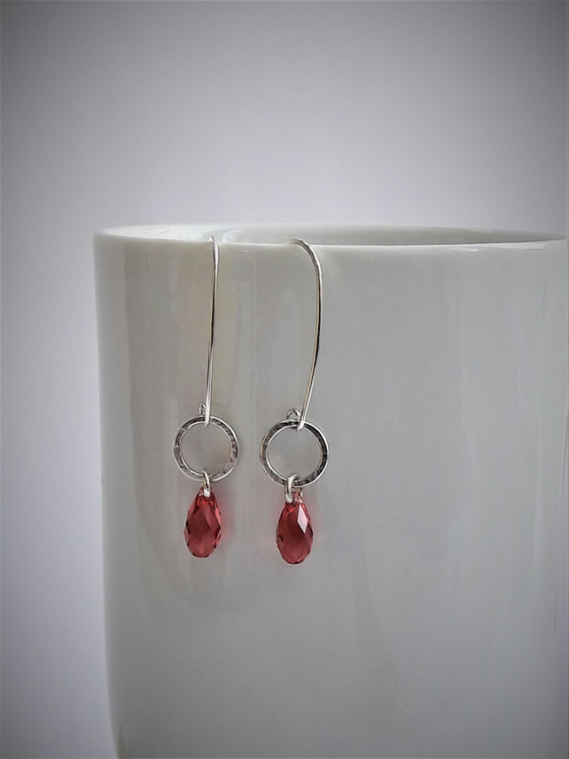 Silver Hoop and Summer Pink Briolette Earrings