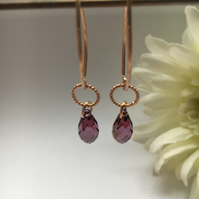 Rose gold and plum earrings