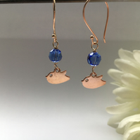 Rose gold and blue earrings