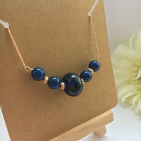 Rose Gold and Blue Necklace