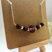 Plum and Silver Necklace