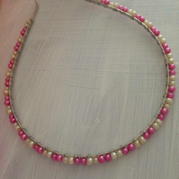 Pink and white beaded headband