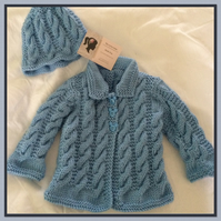 baby boy blue aran coat and hat