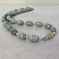 Green Striated Zebra Stone, Bali Silver and Sterling Silver (42)