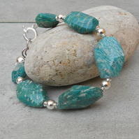 Russian Amazonite & Sterling Silver Bracelet (68)