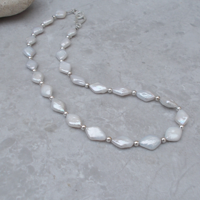 Freshwater Pearl Necklace & Sterling Silver (54)