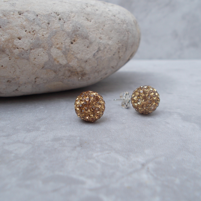 10mm Shamballa Studs Gold (85G)