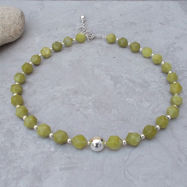 Faceted Lime Jade and Sterling Silver (N20)