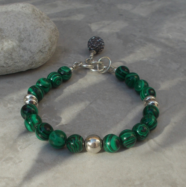 Simulated Malachite and Sterling Silver Bracelet