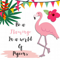 Any Occasion Handmade Card - Flamingo