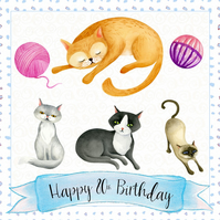 Happy Birthday Card - Handmade, Cats