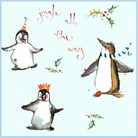 Handmade Penguins Christmas card featuring fun images of penguins, personalised